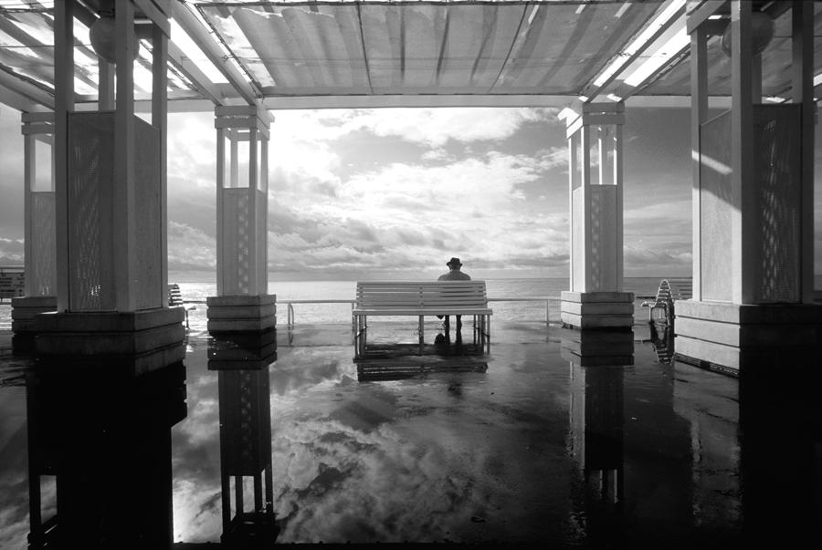 pluie, flaque, eau, ville, mer, pergola, Nice, promenade des Anglais