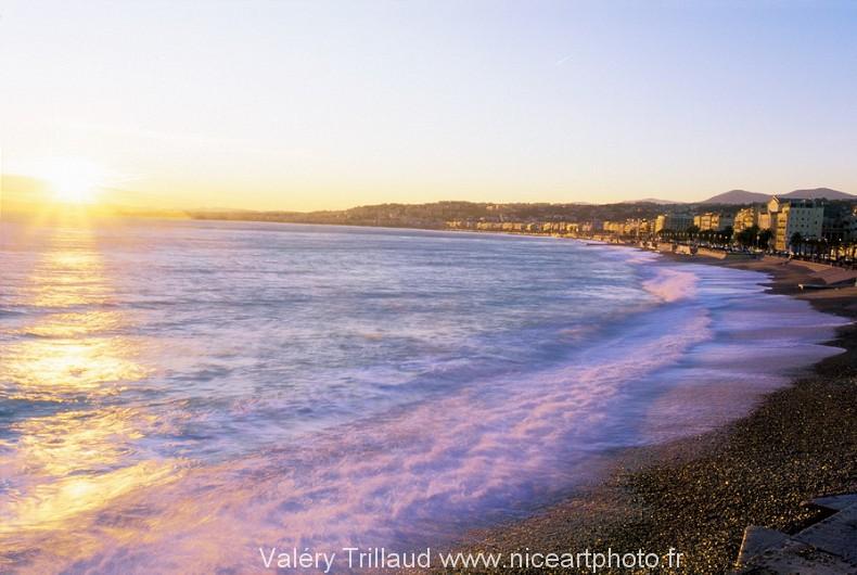 Plage Nice soir mer photo