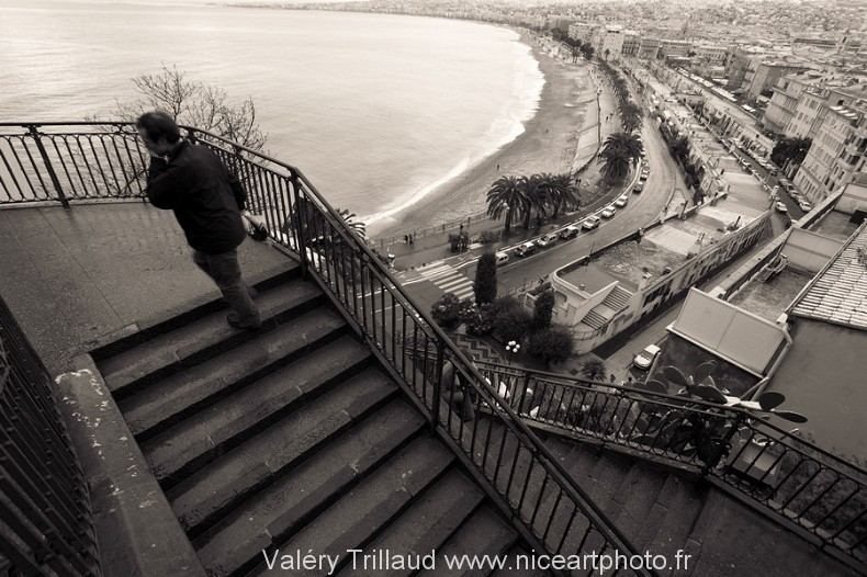 chateau Nice noir et blanc ville mer photo