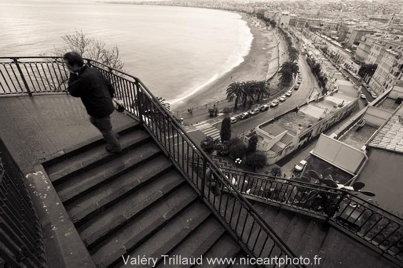 chateau Nice noir et blanc ville mer photo