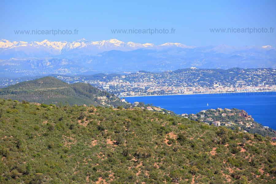 Cannes et montagnes enneigées du Mercantour