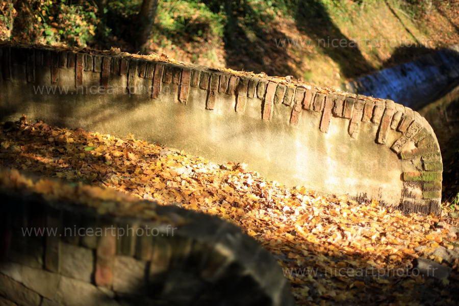 pont de pierre avec feuilles d'automne